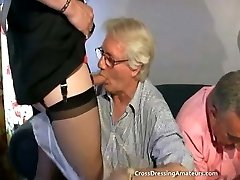 Teenie with Two old men and a mature crossdresser