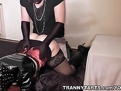 Kinky couple plays with t-dolls and crossdressers
