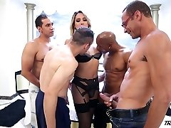 Mischievous curvy Tgirl Bianca Hills has nothing against some brutal gang-bang