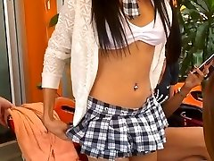 Lovely ladyboy in school uniform walk to meet t-model friend