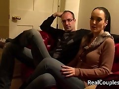 Naughty wife in PVC with crossdressing husband