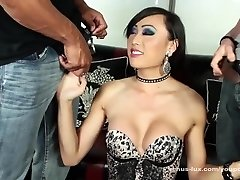 Venus Lux Swallows Two Loads In Three-way
