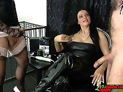 Slave and transgirl masturbation contest for german domina