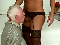 Mature guy and TS in mutual suck and shag