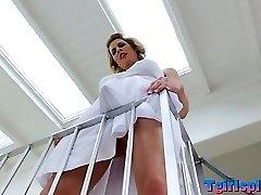 Blonde she-creature Delia De Lions asshole penetrated in 3 way