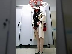 Chinese crossdress masturbation in  public toilets