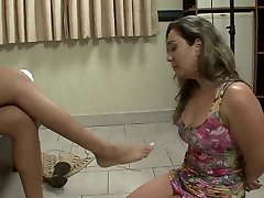 Shemale foot domination over subordinated slave girl