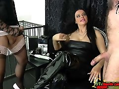 Slave and tranny masturbation compete for german domina