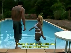Blonde tranny fucks by the pool