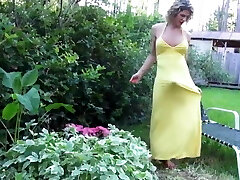 BEAUTIFUL MATURE Transgender Princess IN  LONG YELLOW DRESS