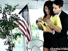 Sexy busty shemale Jane Marie gets her ass fucked and cums