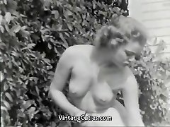 Nudist Doll Feels Good Nude in Garden (1950s Vintage)