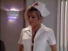 Antique nurse scene. Spunks on her feet