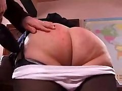 Crazy granny gets her booty spanked hard