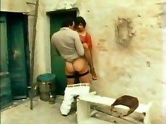 Retro-Klassiker - schwarzer satin panty fuck with cum-on-panties