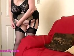 Warm Grannie in retro garter and stockings