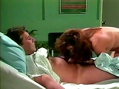 Dark haired lut jumps on dick of one patient in a medical center