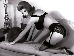 SOFA STRIP - vintage nylons pantyhose striptease big udders