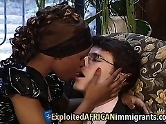 African Babe Enjoys Riding Big White Man Meat