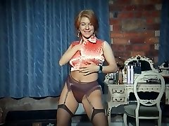 QUEER - vintage yam-sized tits disrobe dance tease in stockings