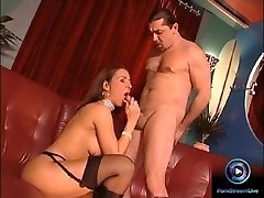Erotic beauty Maria Belucci closeup fucked on both her taut holes