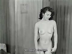 Nude Brunette Teases with Perfect Assets (1950s Vintage)