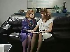 Retro Office Lesbians Vulva and Ass Licking Strap-On