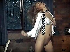 Brit school girl uniform striptease
