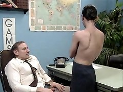 Old boss at desk job getting a deepthroat job