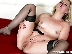 Naughty light-haired Anna Belle milks in retro garter and sheer ebony nylons