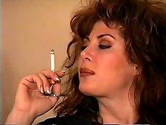 Old-school Brunette Smoking Solo