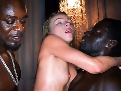 BLACKEDRAW Blonde smashed by four black guys