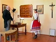Perverted headmaster caning his teen pupil