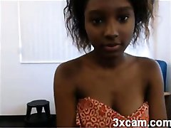 Sexy black camgirl teasing on webcam