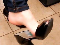 Gfs shoeplay dangle peeptoe heels undertable