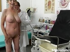 Fake medic secretly records gynecology exam of good looking granny with big tits
