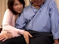 Timid Japanese milf blows her husbands fat old dick