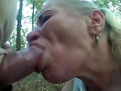 Pumped cock use poor hooker facehole and throat in forest