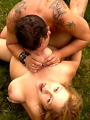 Hot blonde bbw Phat Farm strip teases outdoors and ends up fucked hard and fast