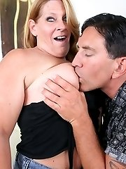 Large MILF Leighann hooks up with a younger stud and lets him jam her throat and pussy with dick