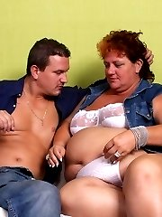 Fat mature babe Sherry doing what she does best and getting it with a handsome younger guy