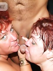 Chubby mature redheads Louise and Mindy lick each others pussies and share a dick in this threesome