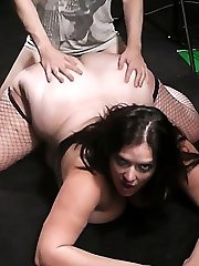 Gigantic backside slut in naughty fishnets destroys marriage by having a guy pound her ass