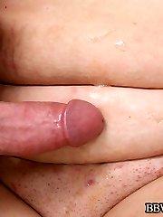 Chubby mature bitch having her plump abdomen testicle tonic splattered