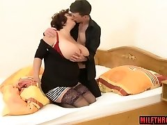 Big tits milf titty fuck with jism on bra-stuffers