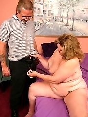 Horny mature BBW pornstar CC fucking and sucking a long dong and gets a nasty cum facial