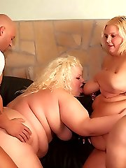 Chunky blonde Melinda Shy and Faye take equal share of cock ramming from a virile hunk