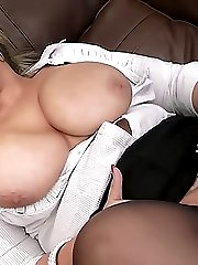 Beautiful plumper in tight black nylons offers shaved pussy to her client