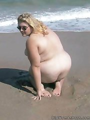 Amateur nude beach BBW girl with big soft belly