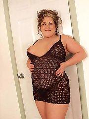 Fat exhibitionist poses